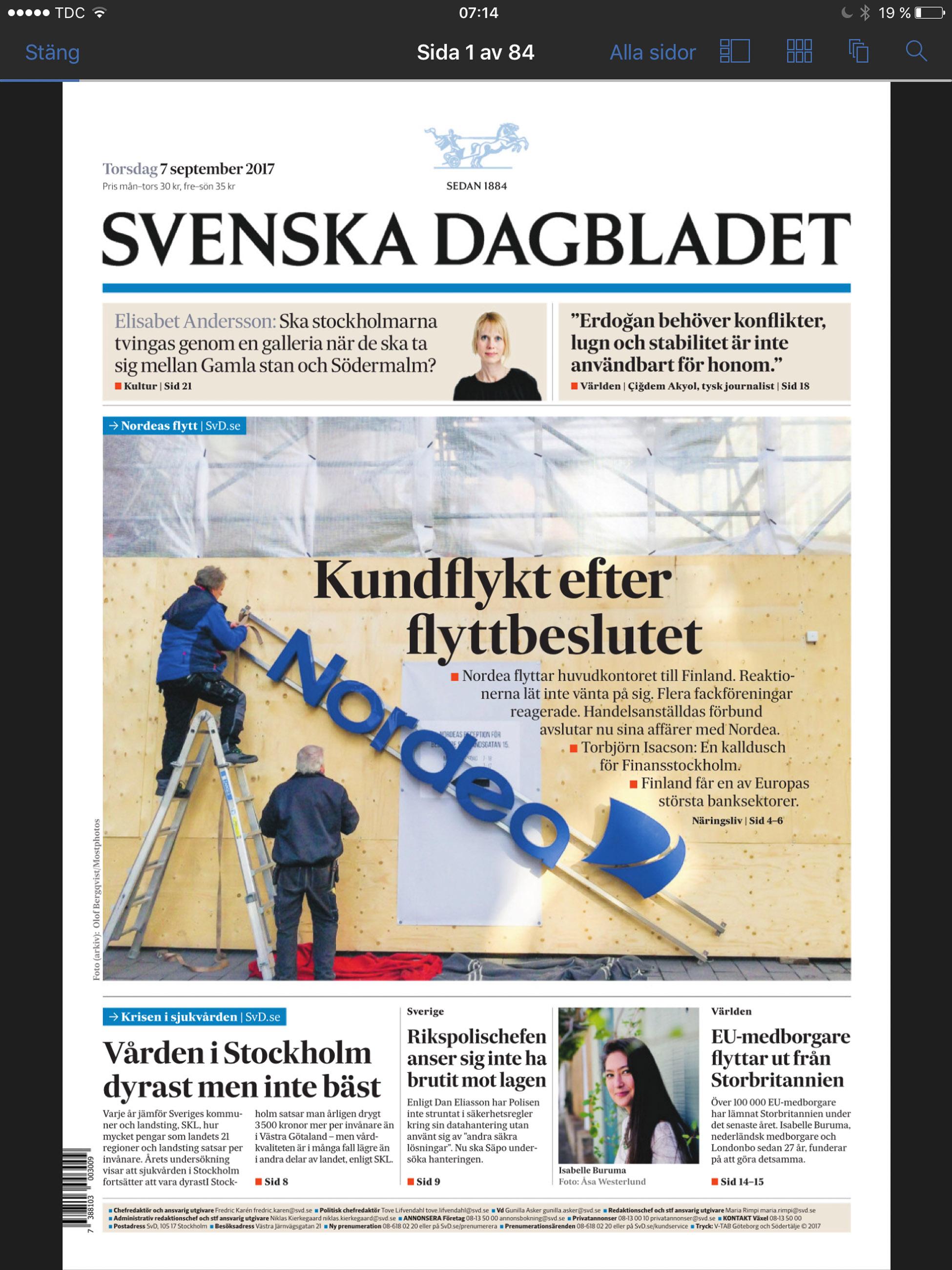 Stockphoto: Nordea plockar ned skylten
