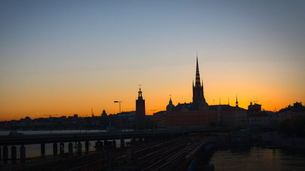 Stockholm by night with Riddarholmskyrkan and Stockholms Stadshus
